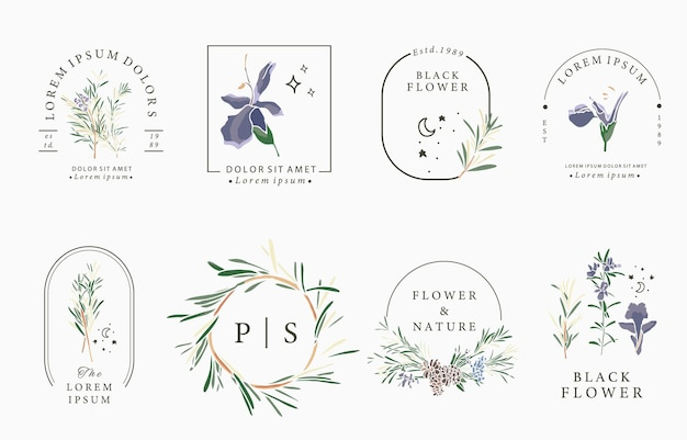 Line flower collection with rosemary.