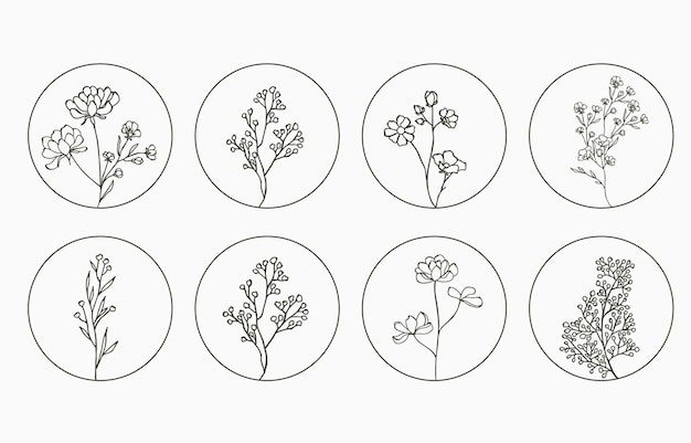 Line flower logo collection with lavender magnolia in circle shape