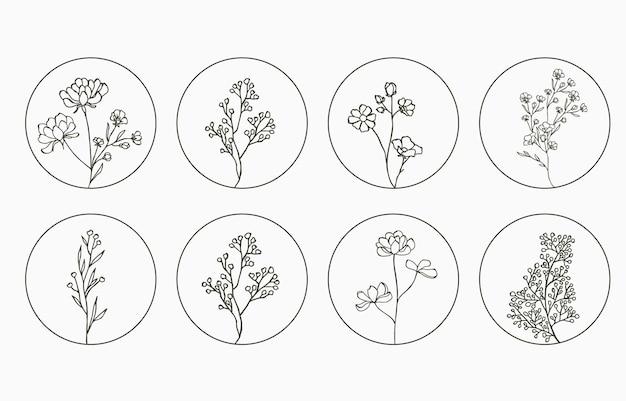 원 모양의 라벤더 목련이 있는 라인 플라워 로고 컬렉션
