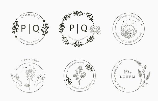 Коллекция логотипов line flower с розовой и лавандовой магнолией в форме круга
