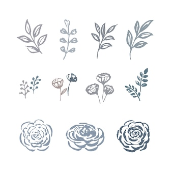 ライン花水彩花、花の植物、植物のイラストセットと葉のスケッチ。