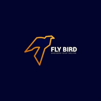 Line fly bird gradient logo template
