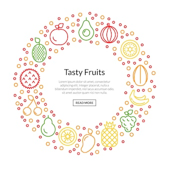 Line fruits icons in circle shape with copyspace illustration