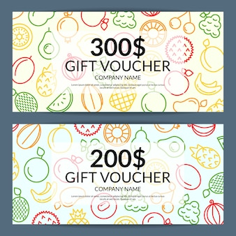 Line fruits icons discount or gift voucher templates
