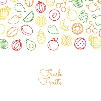 Line fruits icons with place for text illustration