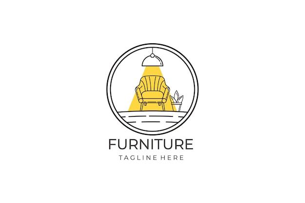 Концепция дизайна логотипа мебели линии. символ и значок стульев, диванов, растений и предметов домашнего обихода.