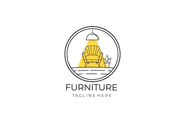 Line furniture logo design concept. symbol and icon of chairs, sofas, plant, and home furnishings.