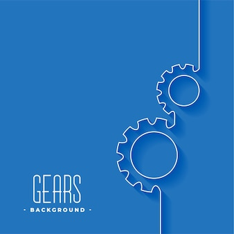 Line gears symbol on blue background design