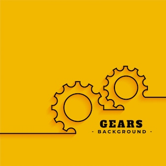 Line gears symbols on yellow background
