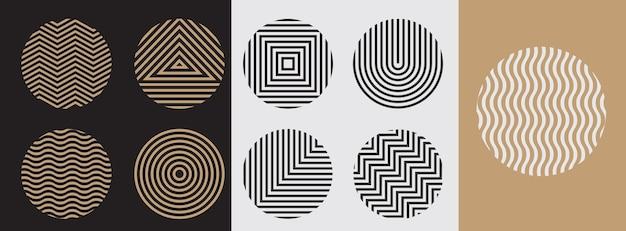 Линия геометрических фигур круга для логотипа, набор.