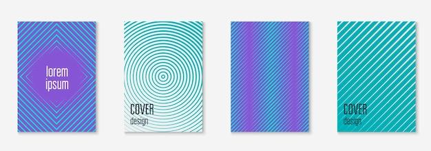 Геометрические элементы линии. синий и фиолетовый. веб-приложение мемфиса, презентация, отчет, концепция обоев. геометрические элементы линии на минималистском модном шаблоне обложки.