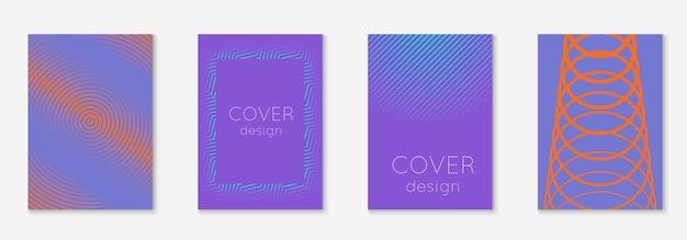 Геометрические элементы линии. оранжевый и фиолетовый. полутоновый баннер, ноутбук, веб-приложение, концепция обоев. геометрические элементы линии на минималистском модном шаблоне обложки.