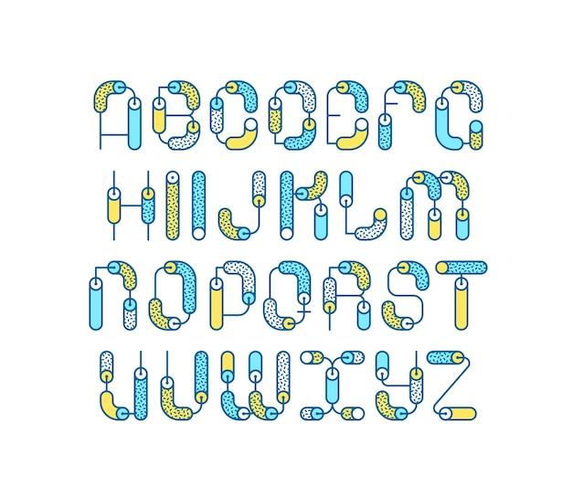 Линия геометрическая цветная линия латинского шрифта, графический декоративный шрифт.