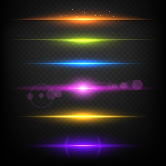 Line glow borders. neon light illuminated linear burst template
