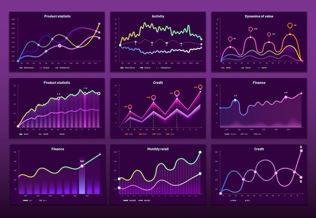 Line graph charts. business financial graphs, marketing chart graphics and histogram infographic  set