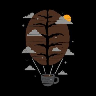 Кофе вдохновение воображение воздушный шарик line graphic illustration art дизайн футболки
