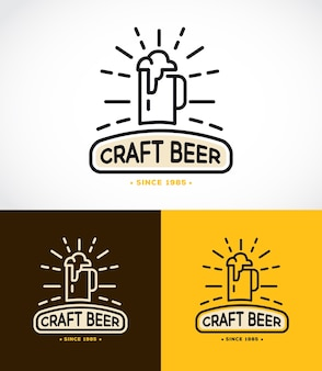 Шаблон монограммы линейной графики с логотипами крафтового пива, эмблемами для пивной, бара, паба, пивоваренной компании, пивоварни, таверны