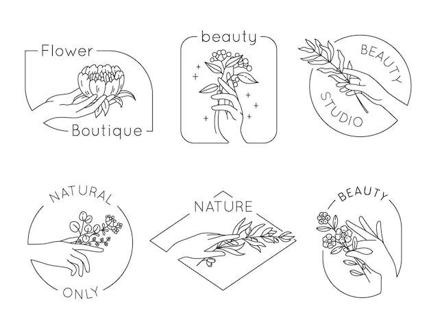 線の手と花のロゴ。花の美容院、スパ、女性の手で化粧品のロゴ。自然な手作りのベクトルセットのエンブレム。スパロゴスケッチアウトライン咲く、美容化粧品イラスト