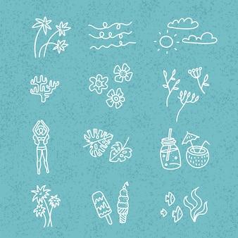 Линия рисованной каракули мультфильм набор летнего времени объектов и символов сезона на блю текстурированные backgound. линейная коллекция произведений искусства - коктейли, цветы, пальмовые листья, мороженое.