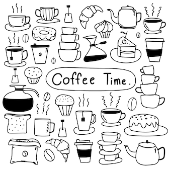 Line Hand Drawn Doodle Vector Set Of Coffee