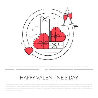 セントバレンタインデーと日付のテーマの行の横のバナー。