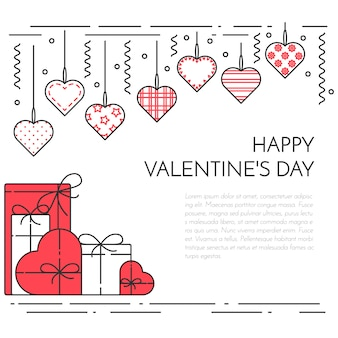Line horizontal banner for saint valentine's day and date theme.