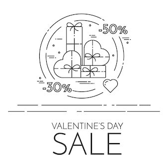 Line horizontal banner for saint valentine's day sale and discount.