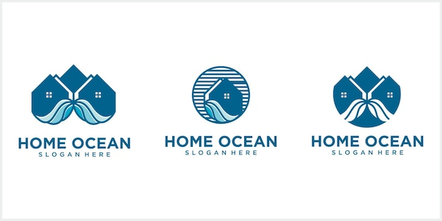 Line house logo with circular house with ocean waves creative beach house logo