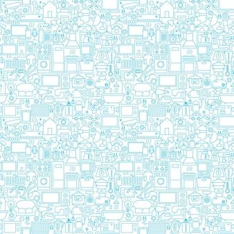 ライン家庭用ホワイトシームレスパターン。アウトラインの背景のベクトル図です。