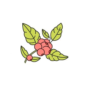 コーヒーの木の枝の線アイコン。コーヒー植物の線形ロゴ。