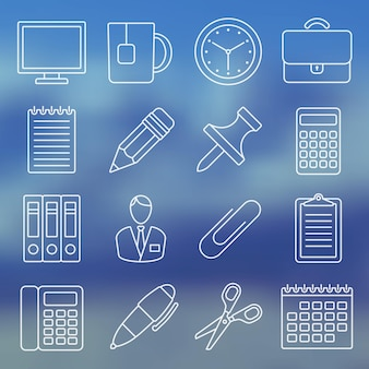 Line icon set office supplies and office life in simple design vector illustration