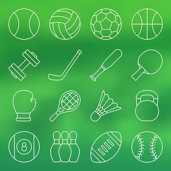 Line icon set sports equipment in simple design sports equipment vector illustration