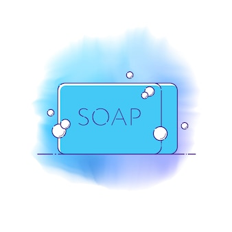 Line icon of solid bar of soap in rectangular shape with foam bubbles. vector illustration in flat style for hand, face and body hygiene, infographic of protection from bacteria and infection.