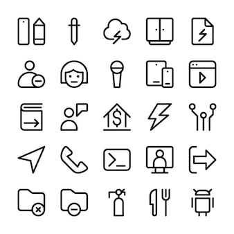 Line icons collection of user interface