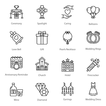 Line icons of love and valentine