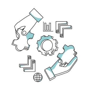 라인 아이콘 마케팅 개념