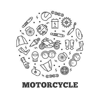 Line icons moto parts motorcycle