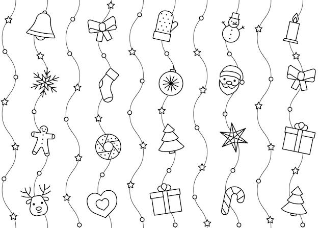 クリスマスと新年のラインアイコンパターン。休日の背景。ベクトルイラスト