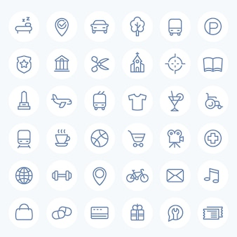 Line icons set for maps, navigation