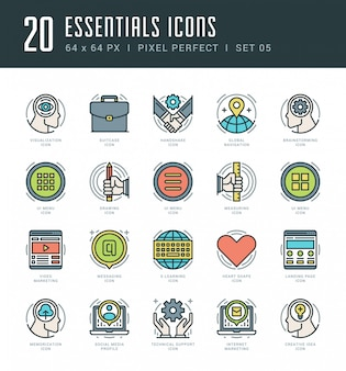 Line icons set trendy modern flat thin linear stroke essentials objects concept.