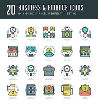 Линия иконки установить модные современные плоские тонкие линейные инсульта вектор бизнеса и финансов концепции.