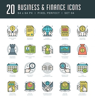 Line icons set trendy modern flat thin linear stroke vector business and finance concept.
