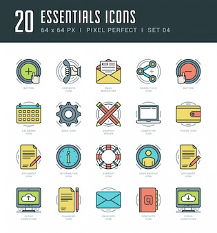 Line icons set trendy modern flat thin linear stroke vector essentials objects concept.
