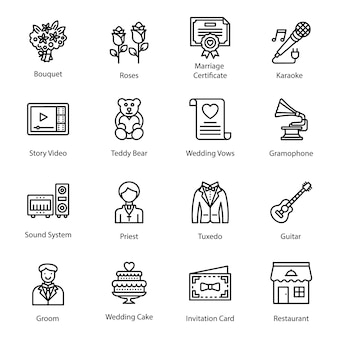 Line icons of wedding