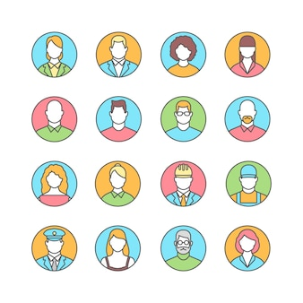 Line icons with flat design elements of people avatars profession.