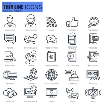 Line internet marketing and social network icons