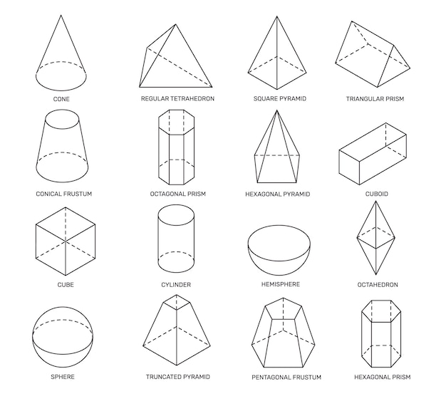 Line isometric shapes simple geometric forms for school learning and logo design