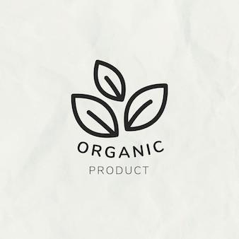 Линия листа логотипа шаблона вектор для брендинга с текстом