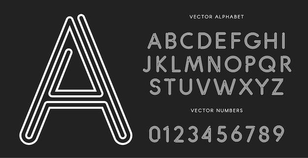 검은 배경에 선 문자와 숫자가 설정됩니다. 흑백 벡터 라틴 알파벳입니다. 레이싱 흰색 글꼴입니다. 로프 abc, 미로 모노그램 및 포스터 템플릿. 타이포그래피 디자인