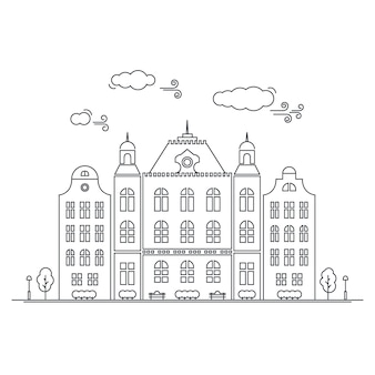 Line little town. linear cityscape with old townhouses, small town street with building facades line. vector graphical lineart hipster illustration. old amsterdam.